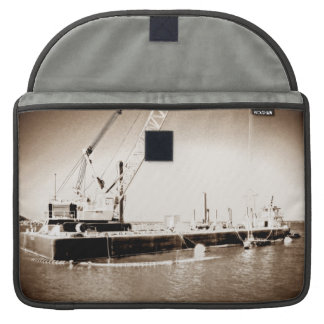 Floating Barge with crane sepia toned Sleeve For MacBook Pro