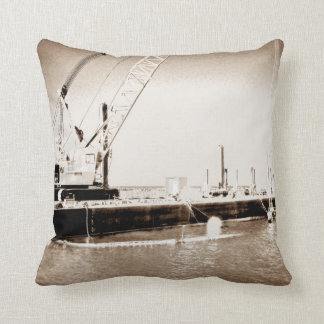 Floating Barge with crane sepia toned Throw Pillow