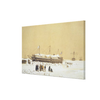 Floating battery La Tonnante in the ice before Kil Canvas Print