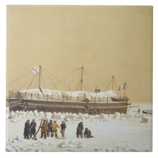 Floating battery La Tonnante in the ice before Kil Large Square Tile