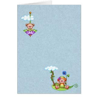 Floating Bears Pixel Art Greeting Card