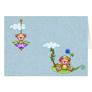 Floating Bears Pixel Art Stationery Note Card