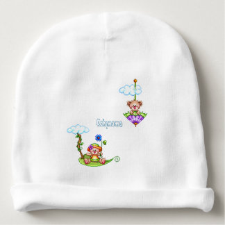 Floating Bears Pixel Art Personalized Baby Beanie
