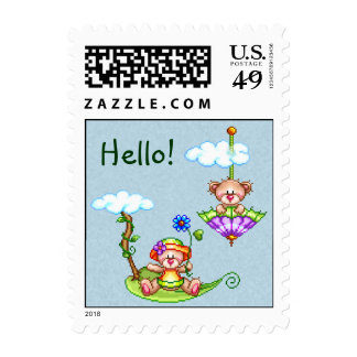 Floating Bears Pixel Art Stamp