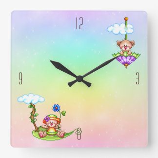 Floating Bears Pixel Art Square Wall Clock