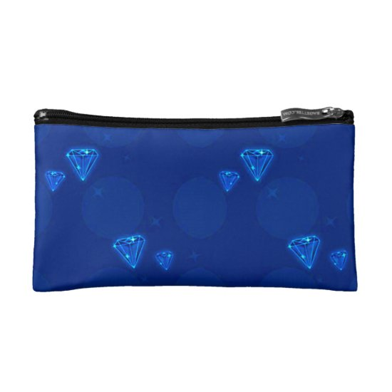 Floating Blue Diamonds Cosmetic Bag