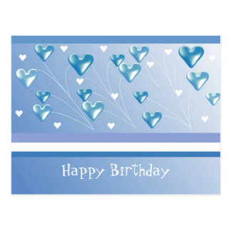 Floating Blue Hearts Birthday Greeting Postcard