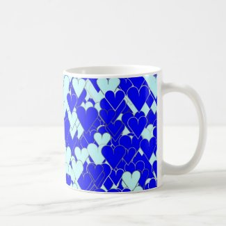 Floating Blue Hearts Coffee Mugs
