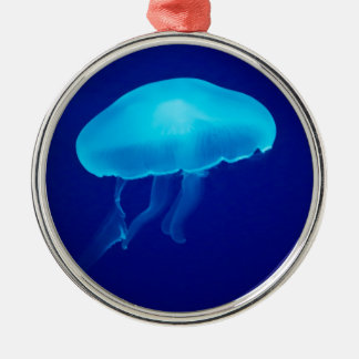 Floating Blue Jellyfish Metal Ornament