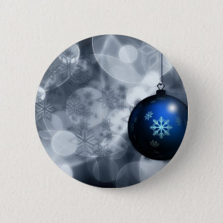 Floating Blue Snowflake Christmas Ornament Advent Button