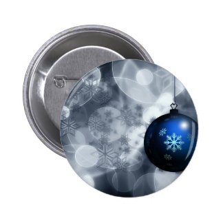 Floating Blue Snowflake Christmas Ornament Advent Pinback Button
