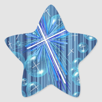 Floating Bubbles and the Cross. Star Sticker