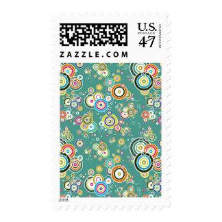 Floating Bullseyes to Infinity 1 AQUA Postage Stamp
