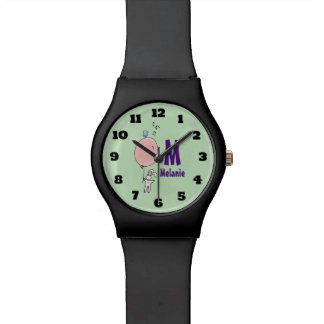Floating Bunny Holding a Balloon Monogram Wrist Watch
