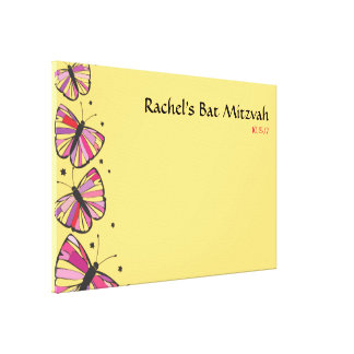 FLOATING BUTTERFLY Bat Mitzvah Sign-In Board Canvas Print