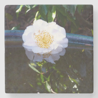 Floating Camellia Marble Coaster