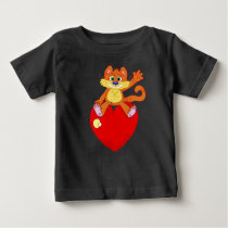 Floating Cat on a heart. Baby T-Shirt