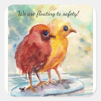 Floating Chicks Square Sticker