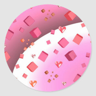 Floating Cubes and Hearts Classic Round Sticker