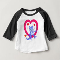 Floating dog on a heart. baby T-Shirt