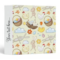 Floating Easter bunnies and birds Binder