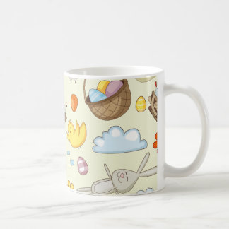 Floating Easter bunnies and birds Coffee Mugs