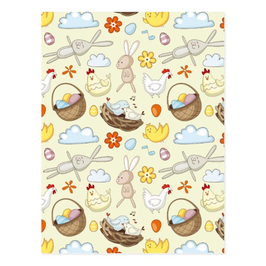 Floating Easter bunnies and birds Postcard