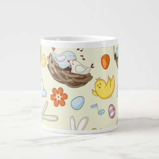 Floating Easter bunnies and birds Extra Large Mugs