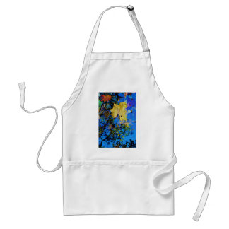 floating fall leaf with reflection of blue sky adult apron