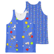 Floating Farm Animals-Repeated All-Over-Print Tank Top