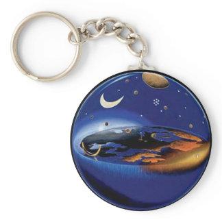 Floating Flat Earth Firmament Sun & Moon Key Chain