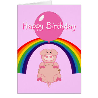 floating flying pig over the rainbow birthday card