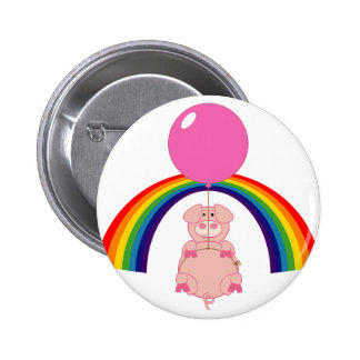 floating flying pig over the rainbow button