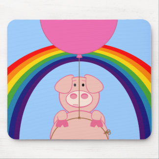 floating flying pig over the rainbow mouse pad