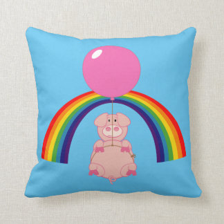 floating flying pig over the rainbow pillow
