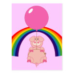 floating flying pig over the rainbow postcard