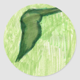 Floating Form Green Classic Round Sticker
