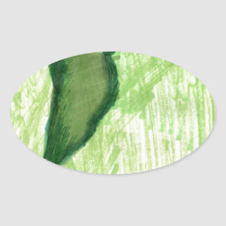 Floating Form Green Oval Sticker