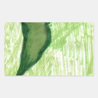 Floating Form Green Rectangular Sticker