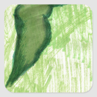 Floating Form Green Square Sticker