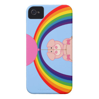 Floating Fying Pig Over the Rainbow iPhone 4 Covers