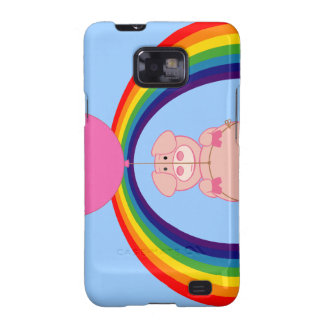 Floating Fying Pig Over the Rainbow Samsung Galaxy S Cases