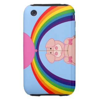 Floating Fying Pig Over the Rainbow Tough iPhone 3 Covers