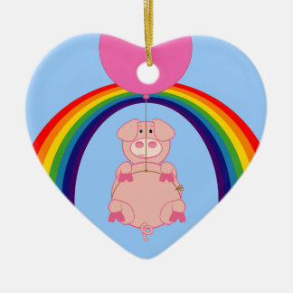 Floating Fying Pig Over the Rainbow Ceramic Ornament