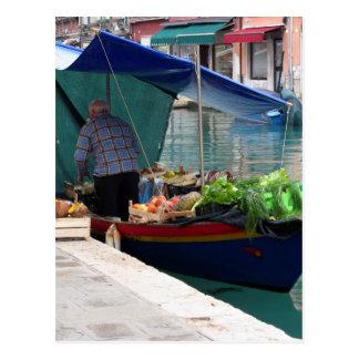 Floating greengrocer at venice postcard
