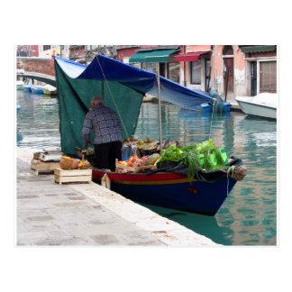 Floating greengrocer at venice postcard