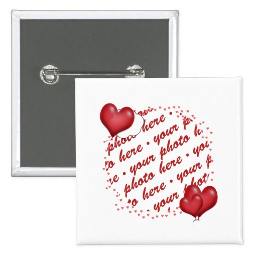 Floating Heart Balloons Photo Frame 2 Inch Square Button