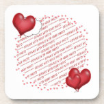 Floating Heart Balloons Photo Frame Beverage Coasters