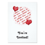 "Floating Heart Balloons Photo Frame 5"" X 7"" Invitation Card"