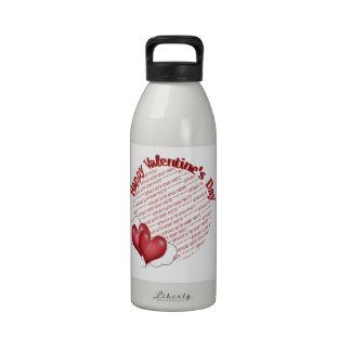 Floating Heart Balloons Valentine Photo Frame Reusable Water Bottle